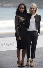 Actresses Watts and Washington pose during a photocall outside the Palacio Kursaal at the 57th San Sebastian Film Festival.