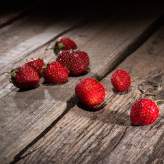 strawberry on old wooden table