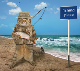 The cat fisher holds a big fish on the seashore.