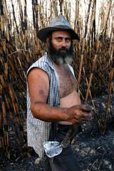 A Spanish sugar cane farmer poses during a break from working in a sugar cane field in Malaga, June ..