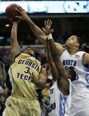 North Carolinas May blocks shot by Georgia Techs Jack.
