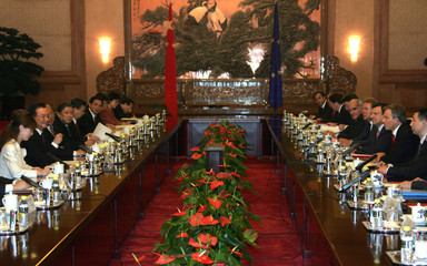 British PM Blair and European Commission President Barroso meet Chinese Premier Wen in Beijing.
