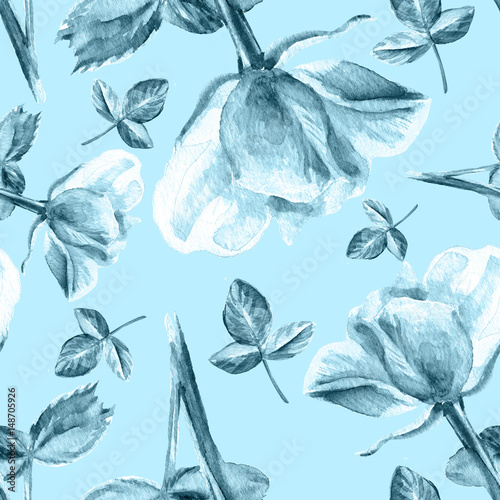 Rose Flower Watercolor Hand Drawn Decorative Illustration Isolated On Blue Background Seamless Floral Pattern For