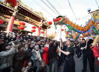 People celebrate Lunar New Year at China Town in Yokohama
