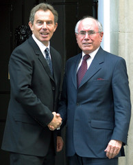 BRITAIN'S PRIME MINISTER BLAIR GREETS AUSTRALIAN PRIME MINISTER HOWARDIN LONDON.