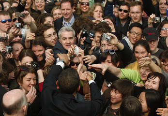U.S. President Barack Obama greets  supporters after speaking in Hradcany Square in Prague