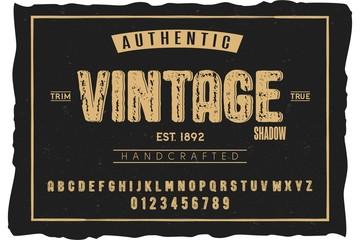 Font. Alphabet. Script. Typeface. Label. Authentic Vintage shadow typeface. For labels and different type designs