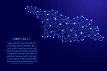 Map of Georgia from polygonal blue lines and glowing stars vector illustration