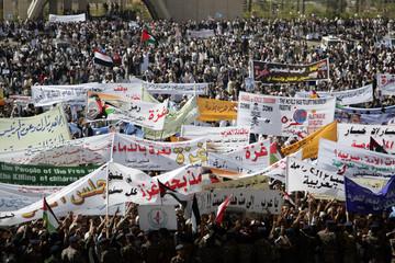Protesters take part in anti-Israeli demonstration in Sanaa
