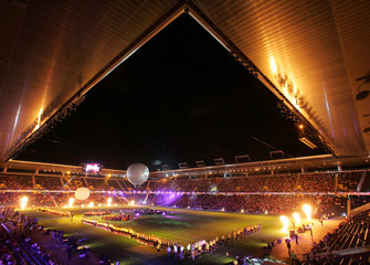 A general view of the official opening ceremony for the rebuilt Stade de Suisse Wankdorf ...