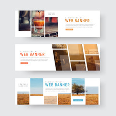 Wall Mural - Template of web banners with rectangular blocks for photos
