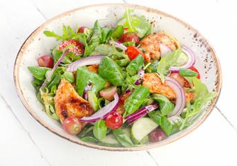 Fresh salad with chicken.