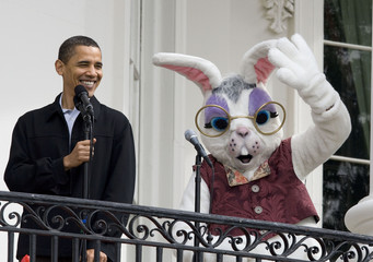 U.S. President Barack Obama talks during 2009 White House Easter Egg Roll at the White House