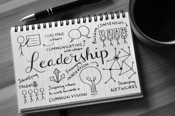 LEADERSHIP graphic notes on notepad