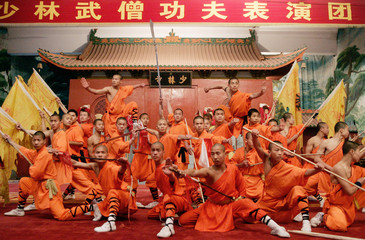 Shaolin students perform at Shaolin Epo Wushu College in Dengfeng City