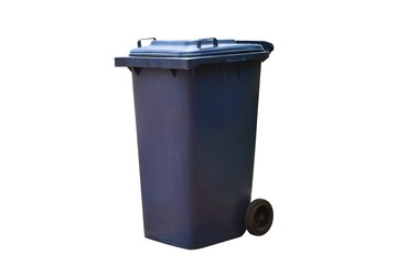 Old blue bins with lids to prevent insect or animal paws and a wheel , isolated on white background with clipping path.