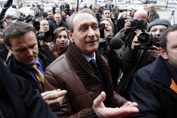 Bertrand Delanoe, French Socialist party member and Mayor of Paris, arrives at the city hall in Reims