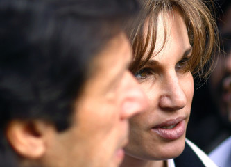 Britain's Jemima Khan and former husband Imran protest during a demonstration in London