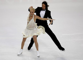 Oksana Domnina and Maxim  Shabalin  of Russia perform during their Ice Dancing Compulsory Dance at the European Figure Skating Championships in Helsinki
