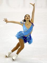 SHIZUKA ARAKAWA PERFORMS QUALIFYING SKATE AT WORLD CHAMPIONSHIPS.