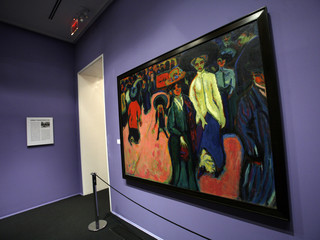 "Ernst Ludwig Kirchner's 1908-1919 painting, ""Street, Dresden"" is displayed during a preview of the ""Brucke: The Birth of Expressionism in Dresden and Berlin, 1905-1913"" exhibition in New York"