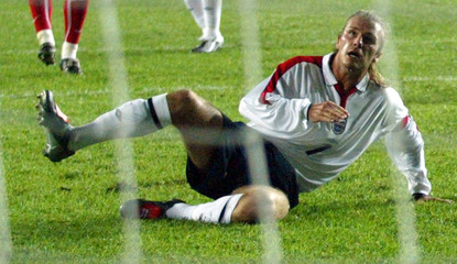 ENGLAND'S CAPTAIN DAVID BECKHAM WATCHES AS HE MISSES A PENALTY KICK INISTANBUL.