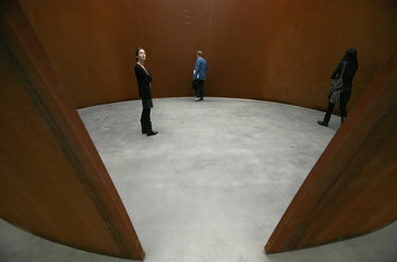 A sculpture entitled 'TTI London' by artist Richard Serra is displayed during the unveiling of his new exhibition at the Gagosian Gallery in London