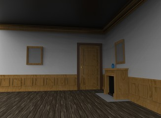 3d illustration of empty room with fireplace. white background isolated. icon for game web.