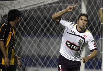 Rodrigo Texeira of Deportivo Cuenca celebrates his goal against Guarani during their Copa Libertadores soccer match in Asuncion