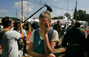 A protester cries as after brain-damaged Florida woman Terri Schiavo die in Pinellas Park.