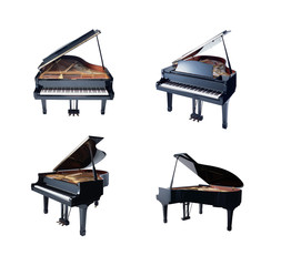 Grand piano isolated on white background, four view point.