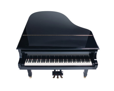 Grand piano isolated on white background, top view.