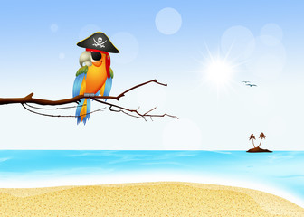 pirate parrot on island