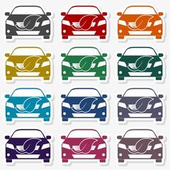 Eco car concept icon, leaf stock vector - Illustration
