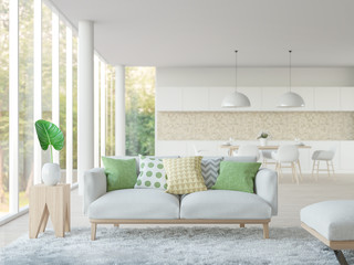 Modern white living room and dining room 3d rendering image.Focus at sofa There are large window overlooking to nature and forest