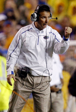 University of Florida head coach Meyer coaches his team as they take on Louisiana State University during their NCAA football game in Baton Rouge