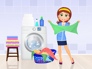 woman does the laundry