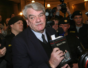British historian David Irving appears at a Vienna courtroom for charges of Holocaust denial