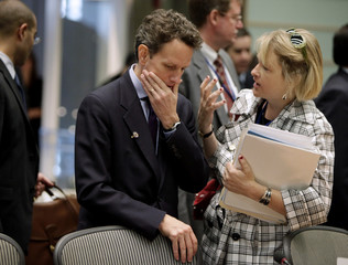 Treasury Secretary Geithner arrives at the Development Committee meeting