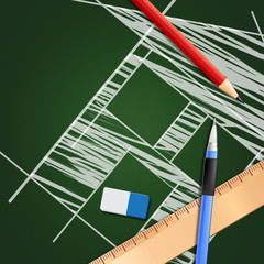Technical Drawing Shows Design Equipment 3d Illustration