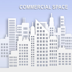 Commercial Space Represents Office Property Buildings 3d Illustration