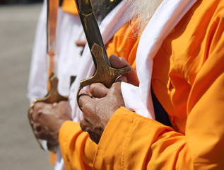 hand of a sikh man on the hilt of the sword during the parade