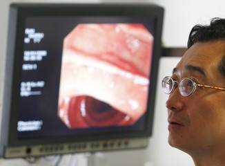 Doctor Zhang watches a screen as he performs an examination of a patient's stomach using a miniature camera in the Gastroenterology and Hepatolgy ward at the Beijing Friendship Hospital