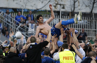Levski Sofia's Ivanov celebrates with supporters after Bulgarian soccer League derby match against Litex Lovech in Lovech