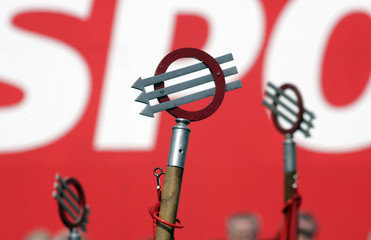 Austrian Social Democratic Party symbols are pictured during the May day rally in Vienna