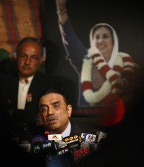 Asif Ali Zardari, widower of former Prime Minister Benazir Bhutto and leader of Pakistan People's Party, speaks during news conference in Islamabad