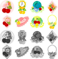 The cute icons of cherry objects such as crystal and jewel and clock and terrestrial globe and hat and bouquet and necklace