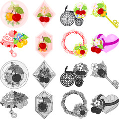 The cute icons of cherry objects such as crystal and jewel and bicycle and key and parasol and wreath and heart