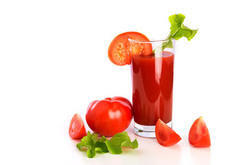 Tomato juice, fresh tomatoes on the white background