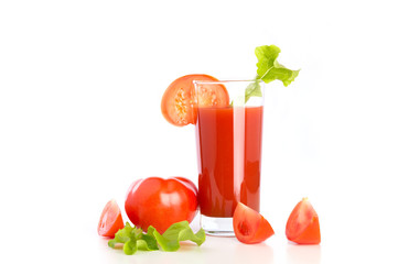 Tomato juice, fresh tomatoes on the white background
